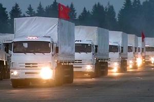 Camions blancs du ministère russe des situations d'urgence.