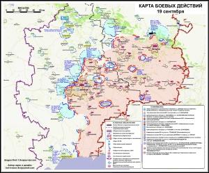 Ukraine - Novorussie : Carte des opérations au 19 septembre.