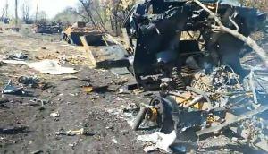 Restes de matériel ukrie après une embuscade des FAN.